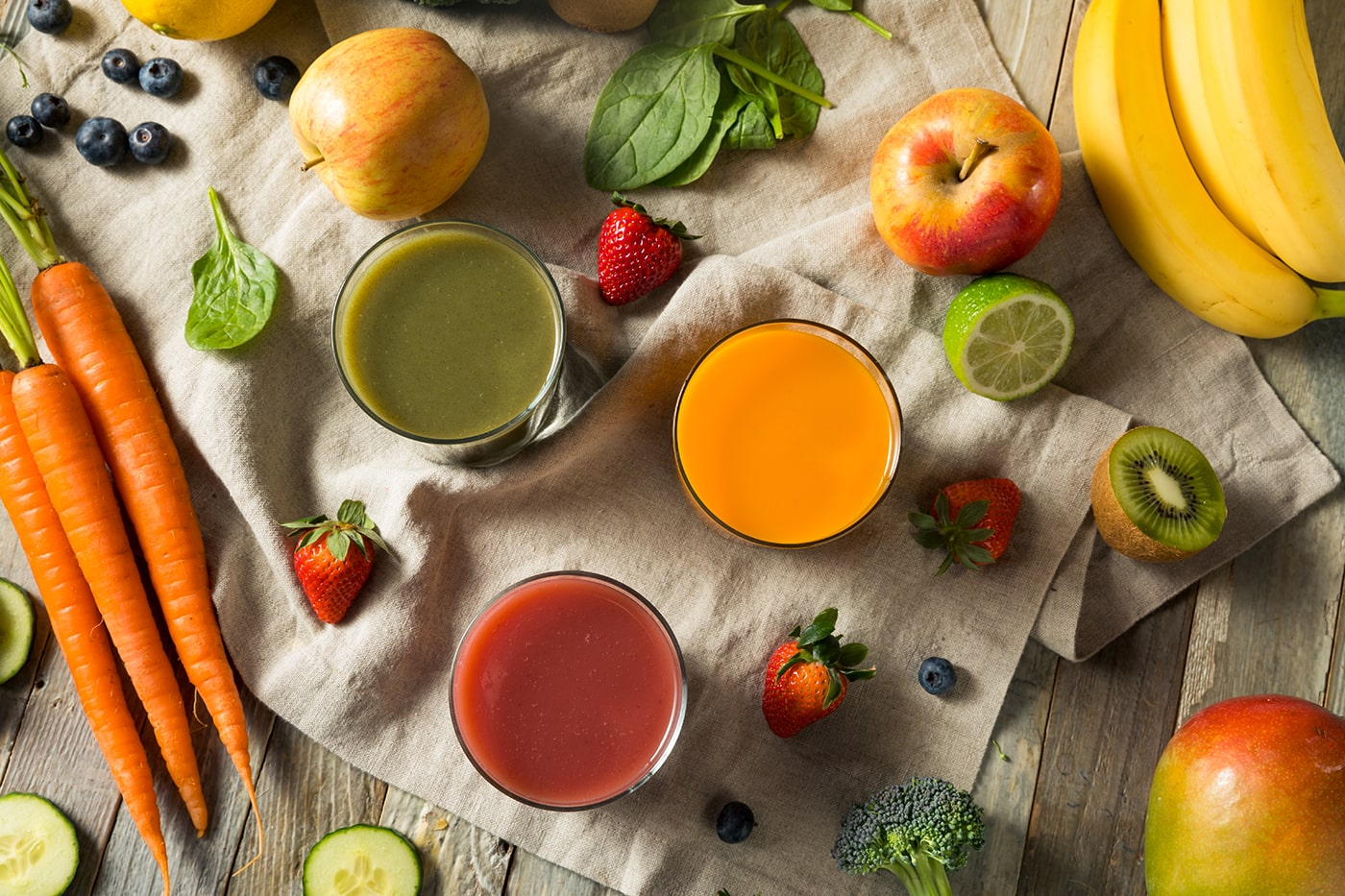 Health fruits, vegetables and juices for detoxes