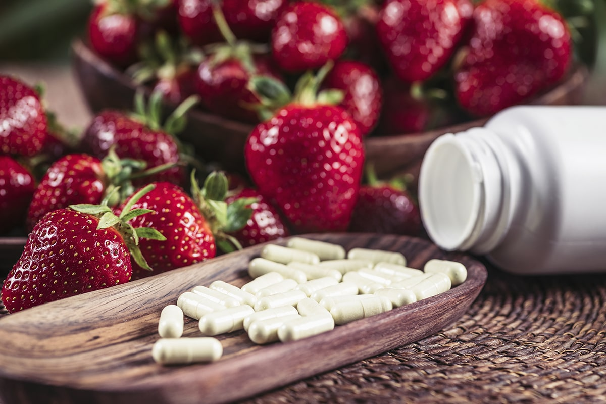 health supplements and strawberries