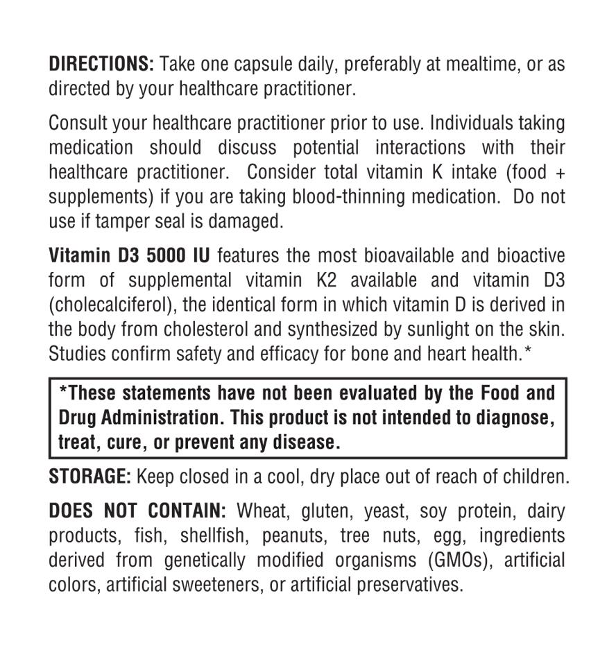 Vitamin D3 5000 Directions