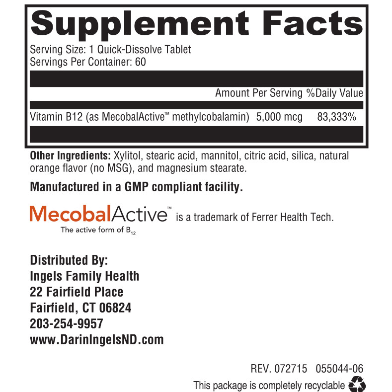 Methyl Vitamin B12 supplement facts