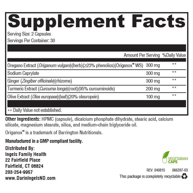 Yeast Balance Plus supplement facts