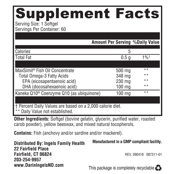 CoQ 100 supplement facts