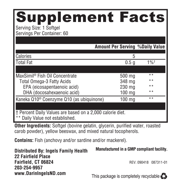 CoQ 100 supplement facts