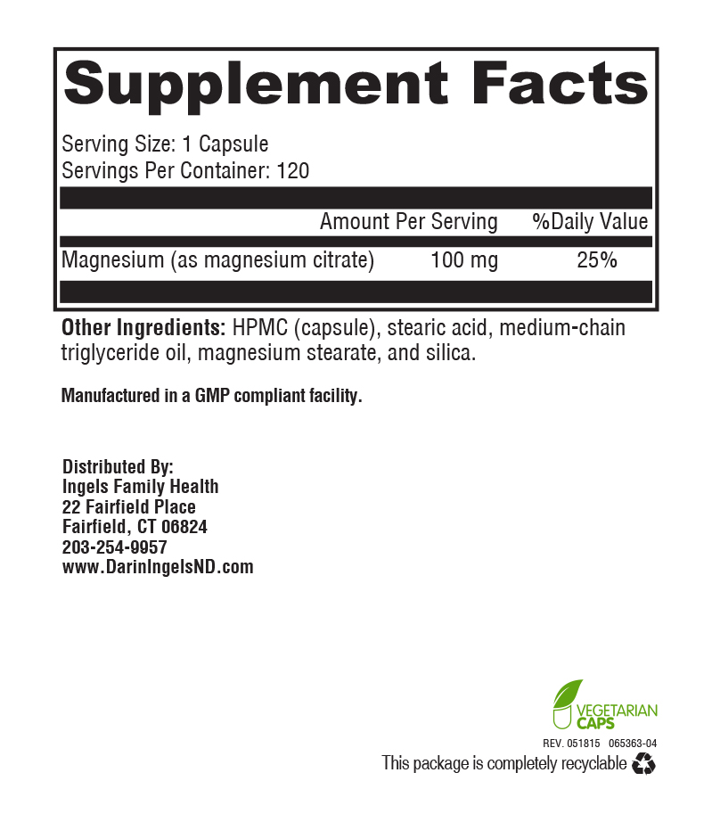 Magnesium Citrate 100 mg supplement facts