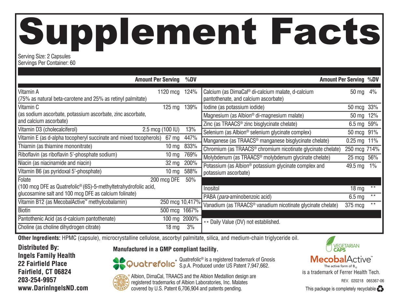 Active Multi Plus Supplement Facts