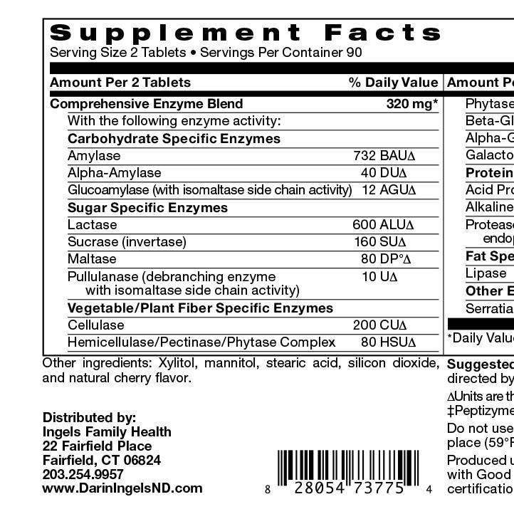 Digestive enzymes label
