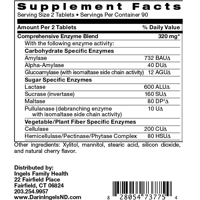 Digestive Enzymes Chewable supplement facts