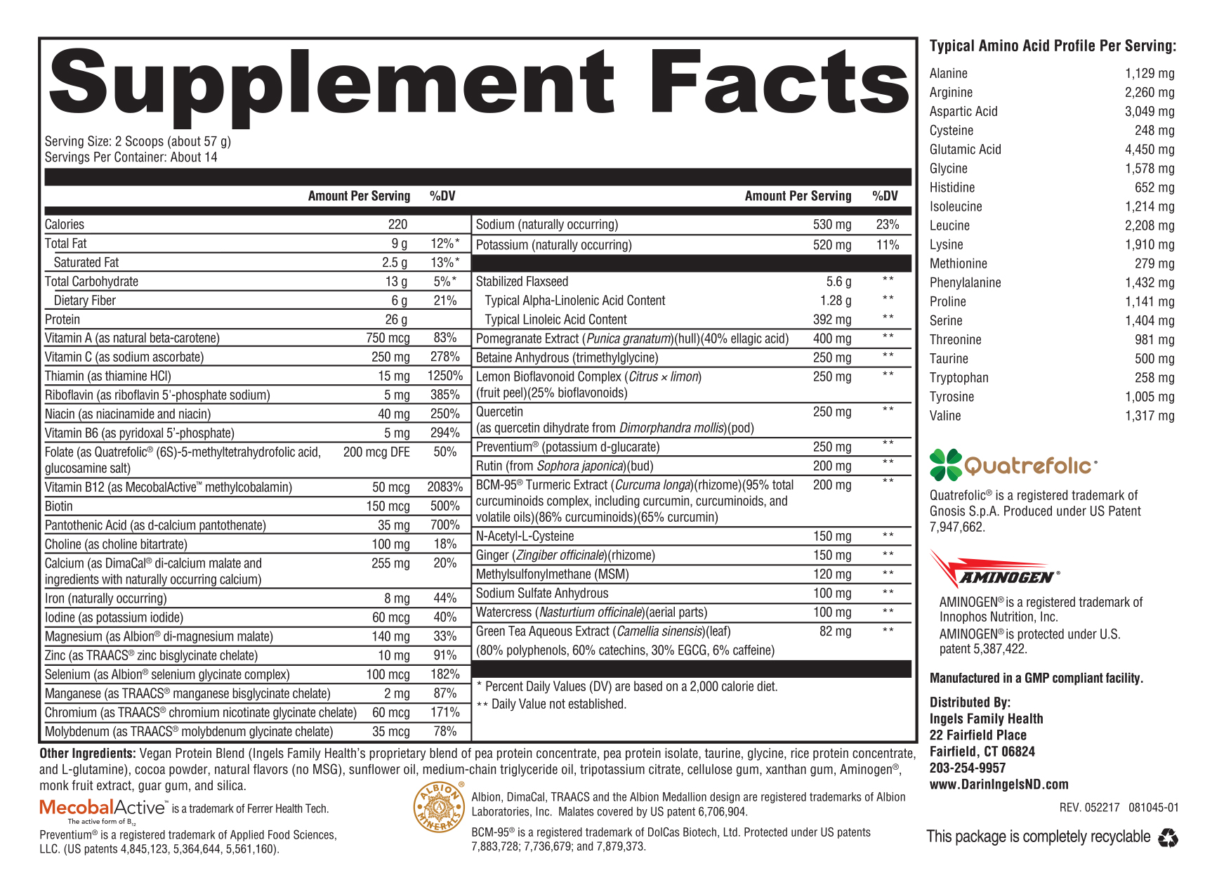 Detox Immune Support Chocolate supplement facts
