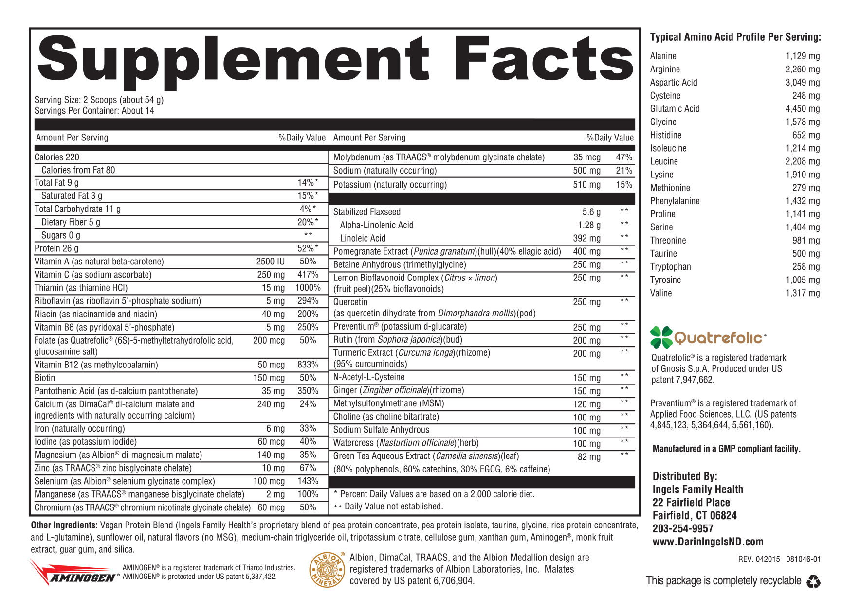 Detox Immune Support Vanilla supplement facts