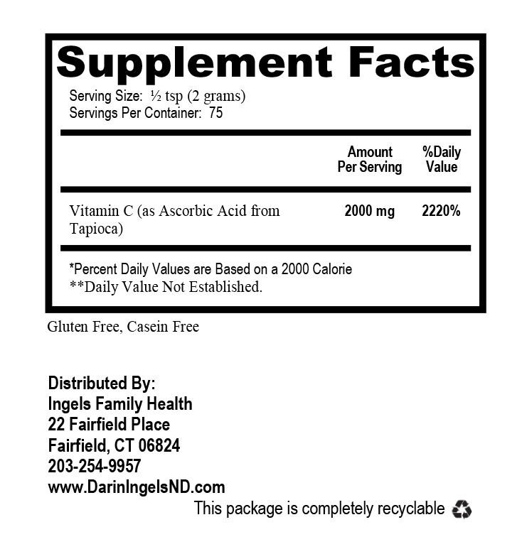 Vitamin C from Tapioca supplement facts