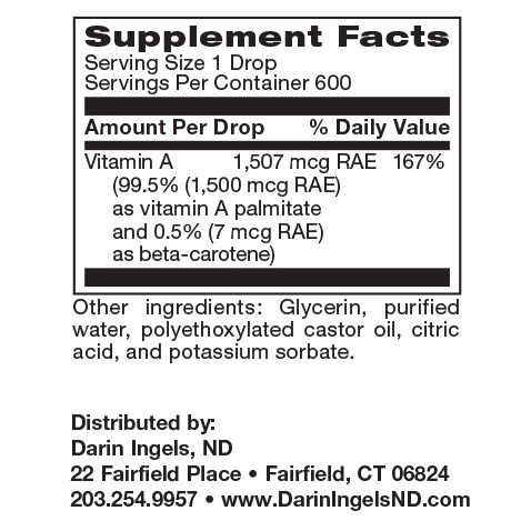 Vitamin A Liquid (Micellized) supplement facts
