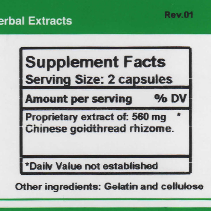 Coptis supplement facts