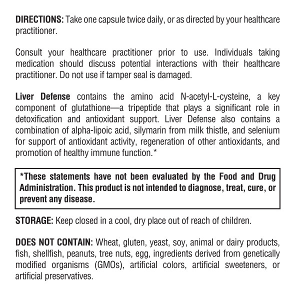 Liver Defense directions and information