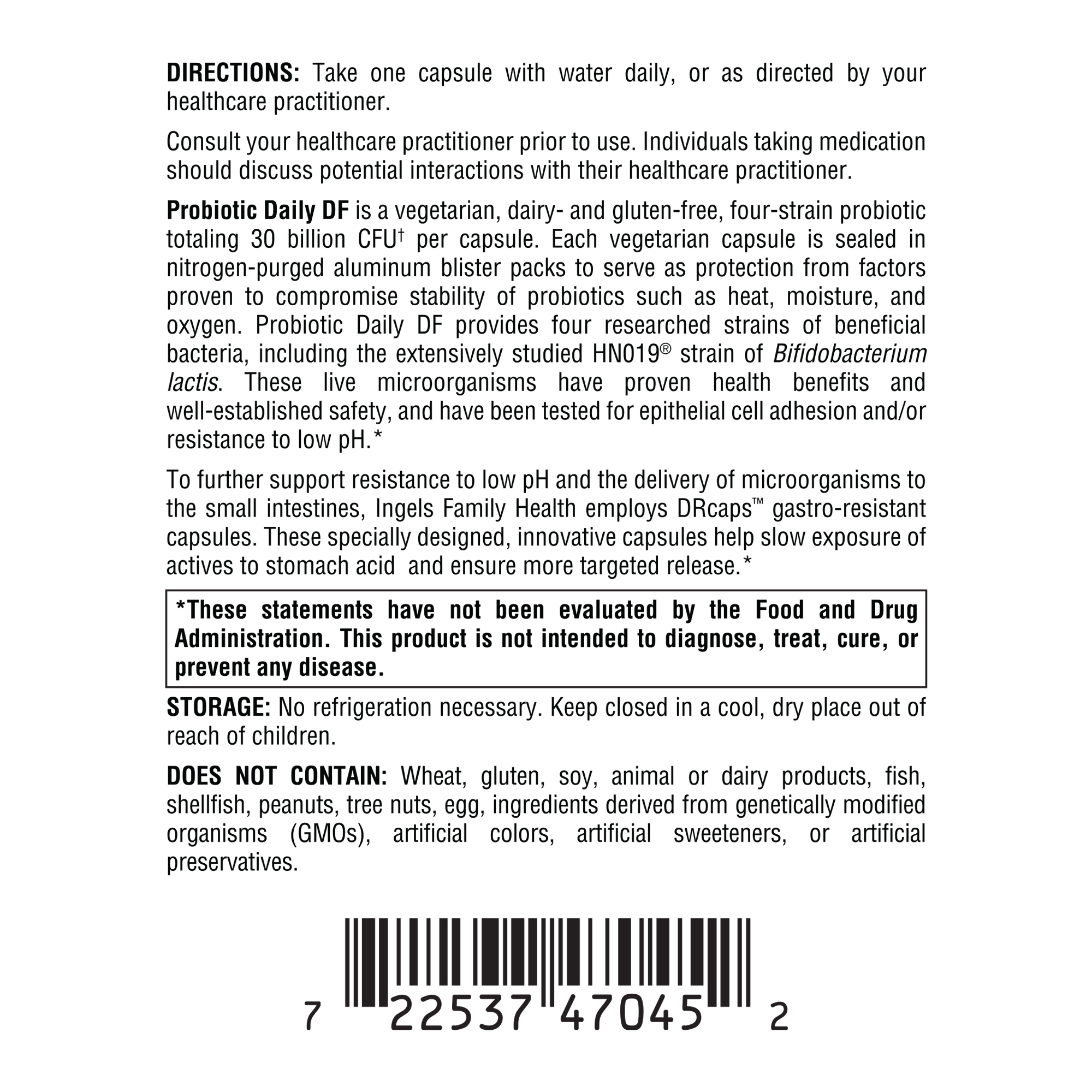Probiotic Daily DF side label